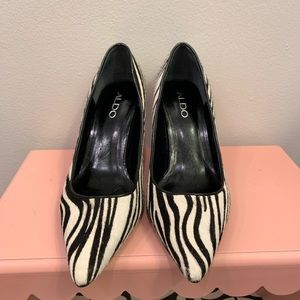 Aldo Zebra Pony Hair kitten heel pump